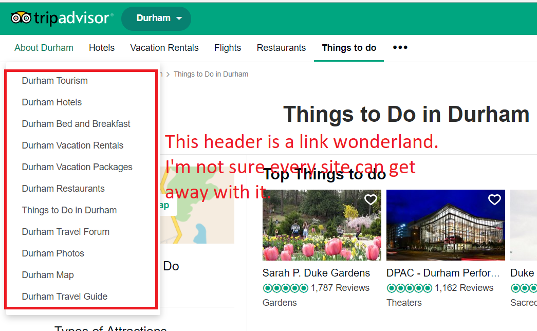 How TripAdvisor links related content